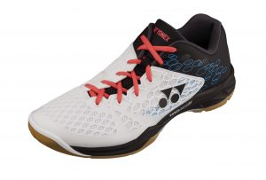 La chaussure de badminton Power Cushion 03 en noir et blanc.